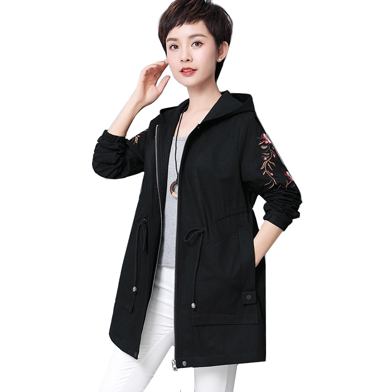 Autumn Winter Cotton Women   Trench   Coat Slim Fashion Plus Size 5XL Medium-long Windbreaker Casual Loose Embroidery Hooded Outwear