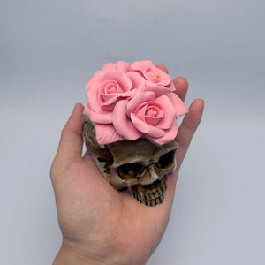 Image 4 - 3D Rose skull silicone mold diy candle plaster silicone mold Halloween decoration tools