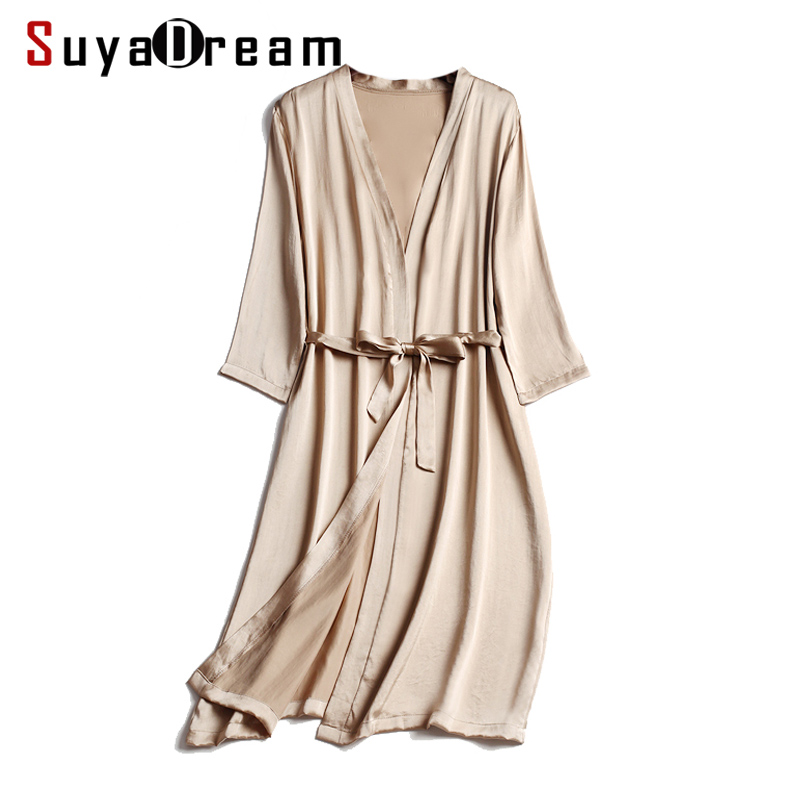 100% Natural silk Women Robes Silk Satin Knee length robe Belted Healthy Sleep wear 2018 Spring New Black White Champagne