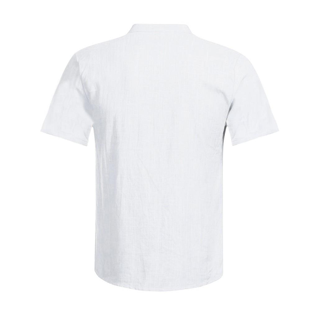 Men's Casual Blouse Cotton Linen shirt Loose Tops Short Sleeve Tee Shirt S-2XL Spring Autumn Summer Casual Handsome Men Shirt 16