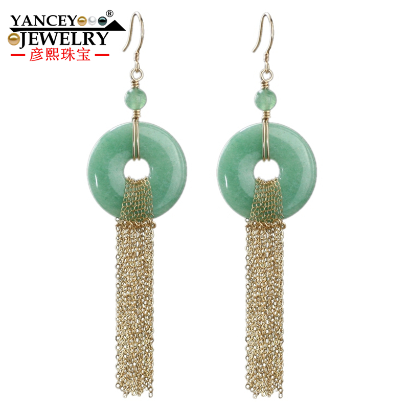 Origina New Original design, Natural light green jade Ping buckle Drop Earrings for women with 9K gold tassel Fine Drop Earrings three button design drop earrings