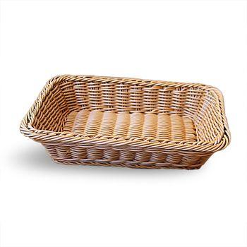 Jasnobrązowy prosty moda ręcznie pleciony koszyk rattan żywności koszyk na owoce imitacja rattan koszyk na chleb 30x20x7cm