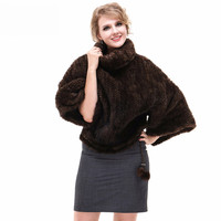 Autumn Winter Women's Genuine Knitted Mink Fur Poncho Mandarin Collar Batwing Sleeve Wraps Lady Pashmina Shawl VF7061