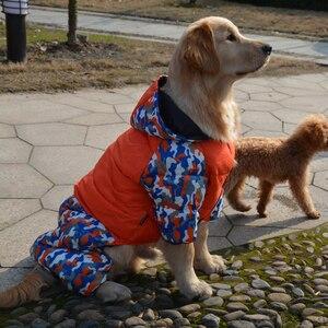 Image 4 - ماء دافئ القطن كبير الكلب الملابس الشتوية كلب كبير وزرة بذلة الكلب أسفل معطف بركة (سترة من الفراء بقبعة للقطب الشمالي) الملاكم الذهبي المسترد الملابس