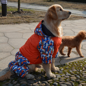 Image 4 - Waterproof Warm Cotton Big Dog Clothes Winter Large Dog Overalls Jumpsuit Dog Down Parka Coat Boxer Golden Retriever Clothing