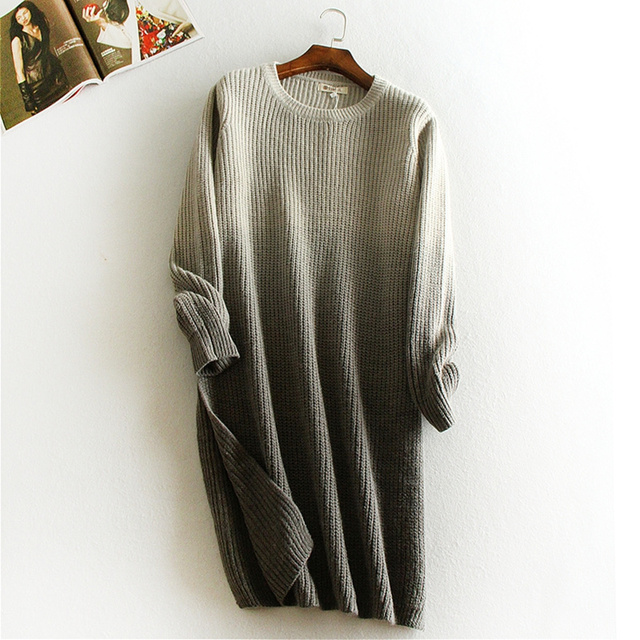 Winter And Autum Warm Sweater Korean Style Round - Neck Long - Sleeved Gradient tie-Dyed Sweater Long-Haired Women FU0977