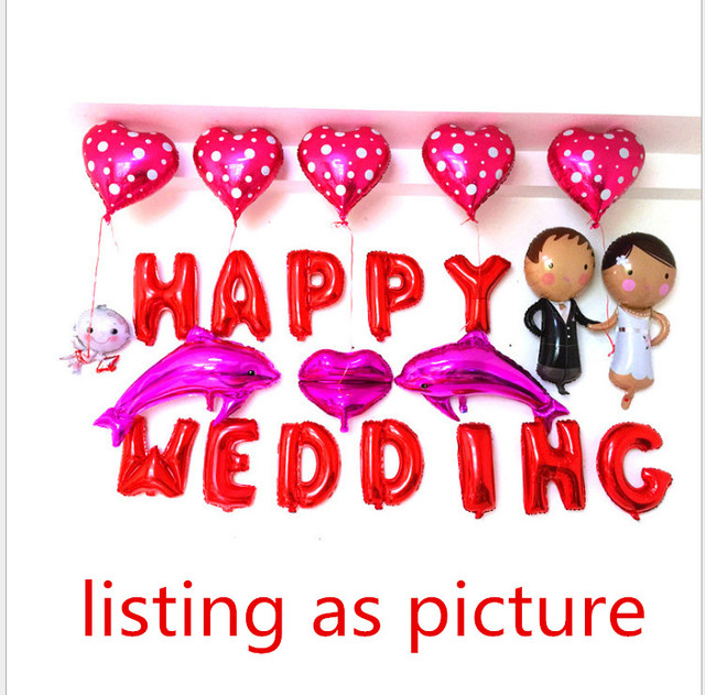 1set Red Happy Wedding Letter Heart Angel Lips Foil Helium Balloons