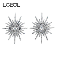LCEOL China Schmuck Fabrik Luxus Design Bolzenohrrings CZ Diamante Prong Einstellung Radiant Sonne Form Ohrringe für Frauen Braut