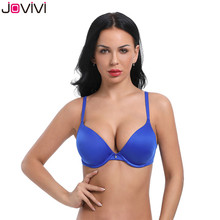 Jovivi 1pc Womens Bra T-Shirt Push Up Everyday Basic Plunge Smooth Lightly Ladies Sexy Black/White/Beige/Pink/Blue