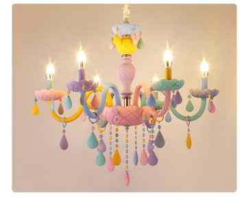 Free Shipping ColorCrystal Chandelier Macaron Pendant Lamp Children Bedroom Lamp Creative Fantasy Luminaire Stained Glass Lustre - DISCOUNT ITEM  11 OFF Lights & Lighting