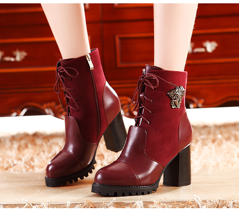 ФОТО Free shipping winter real leather warm high-heeled martin boots rivets thick heels round toe zipper warm wool snow shoes H1850