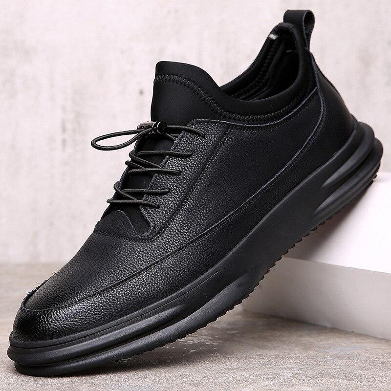 Baskets mode en cuir véritable chaussures décontractées hommes respirant classique noir blanc homme chaussures Krasovki printemps été baskets