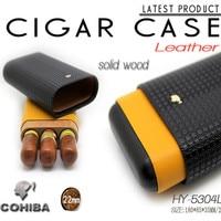 Calf Leather Spot Cohiba Cigar Humidor Portable Cortex Moisturizing Travel Cigar Case Double Color Tube Cuba