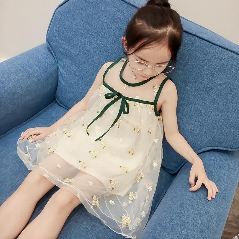 Vasaras bērni meitenes ziedu kleita bērnu bezpiedurkņu ziedu - Bērnu apģērbi