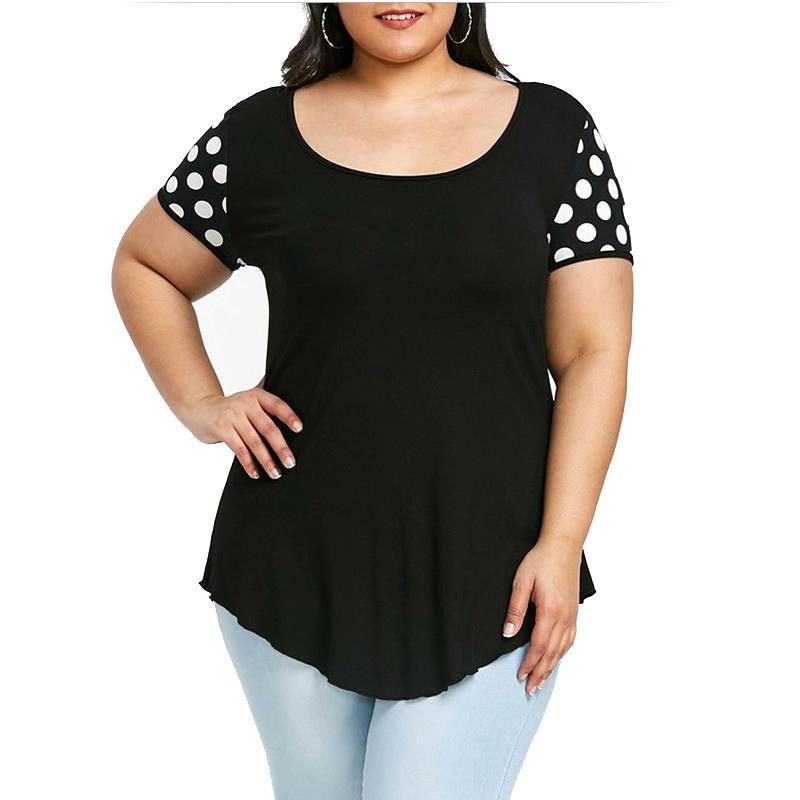 Polka Dot Print Women T Shirt O Neck Short Sleeves Plus