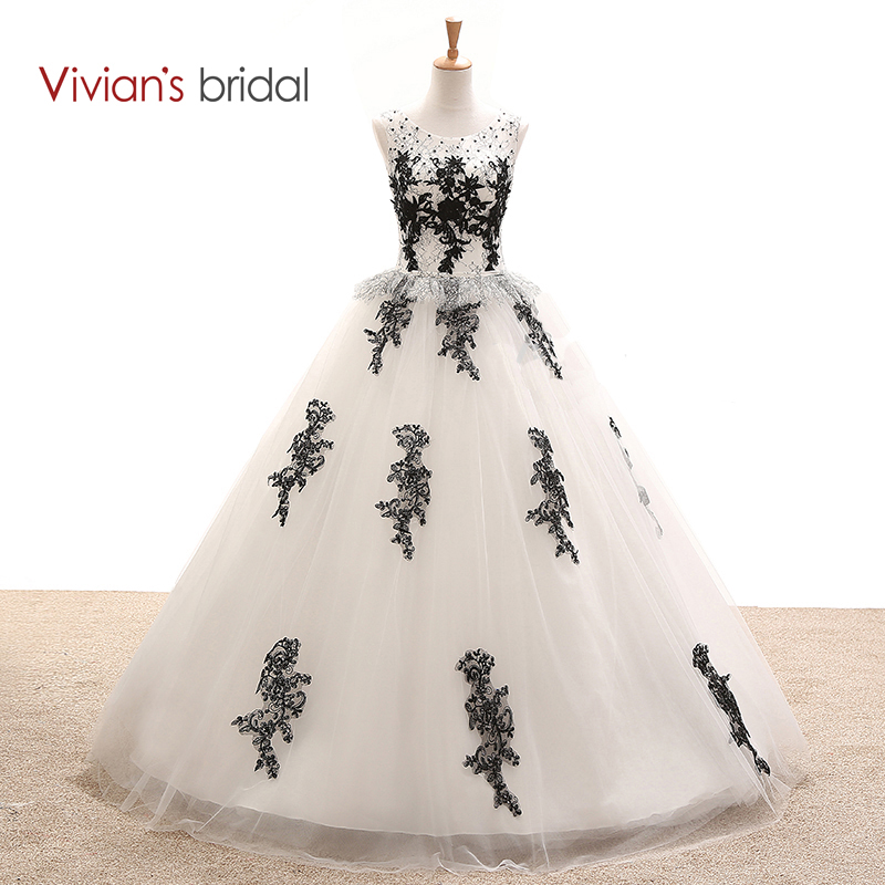 ⑦Vivian\'s Bridal Black And White Wedding Dress Ball Gown Sleeveless ...