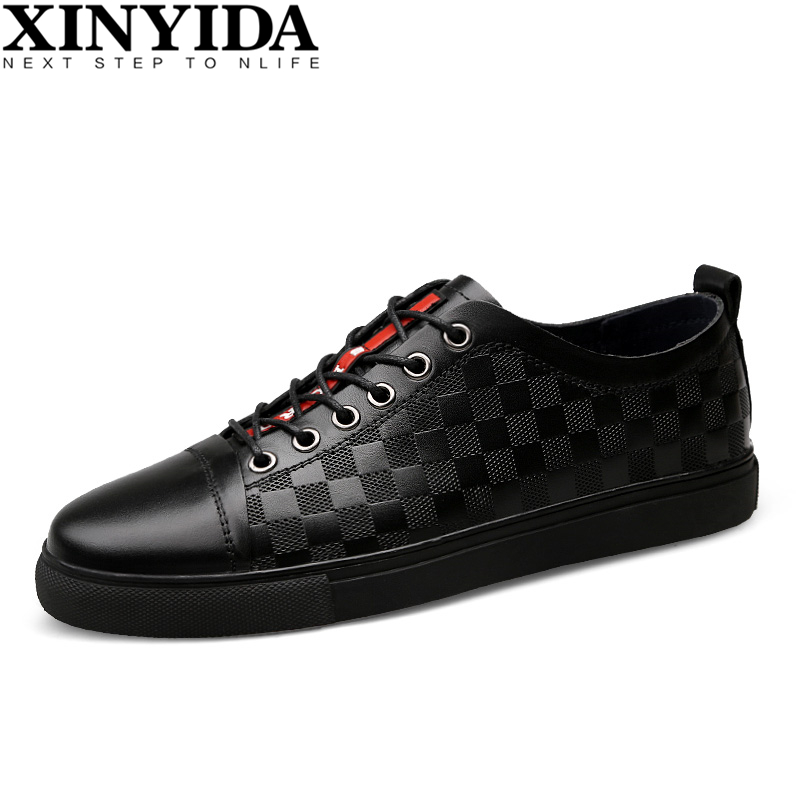 Hot Sale Genuine Leather Men Skateboard Shoes Lace Up Breathable Casual Shoes Sneakers Men Fashion Trainers Shoes Plus Size36-47 цены
