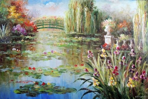 Lily Pond Purple Iris Flowers Weeping Willow Trees