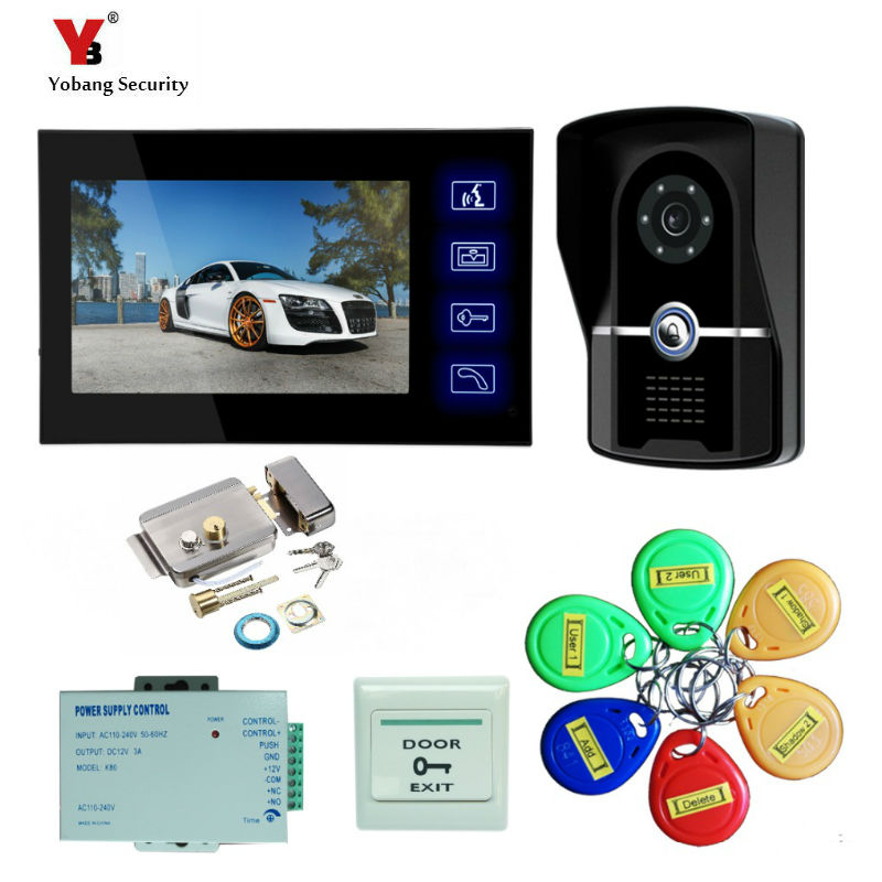 Yobang Security Color touch screen video intercom door phone IR camera door bell 7-inch Monitor RFID Keyfob Apartment Security 98 inch monitor ir touch screen 2 points infrared touch screen panel ir touch screen frame overlay with usb