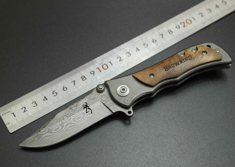 Browning Folding font b knife b font 440C Stainless Steel Damascus Tattoo Camping Pocket Survival Knifes
