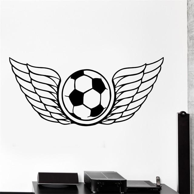Muurtattoo Voetbal Vleugels Voetbal Bal Sport Decor Cool Interieur ...