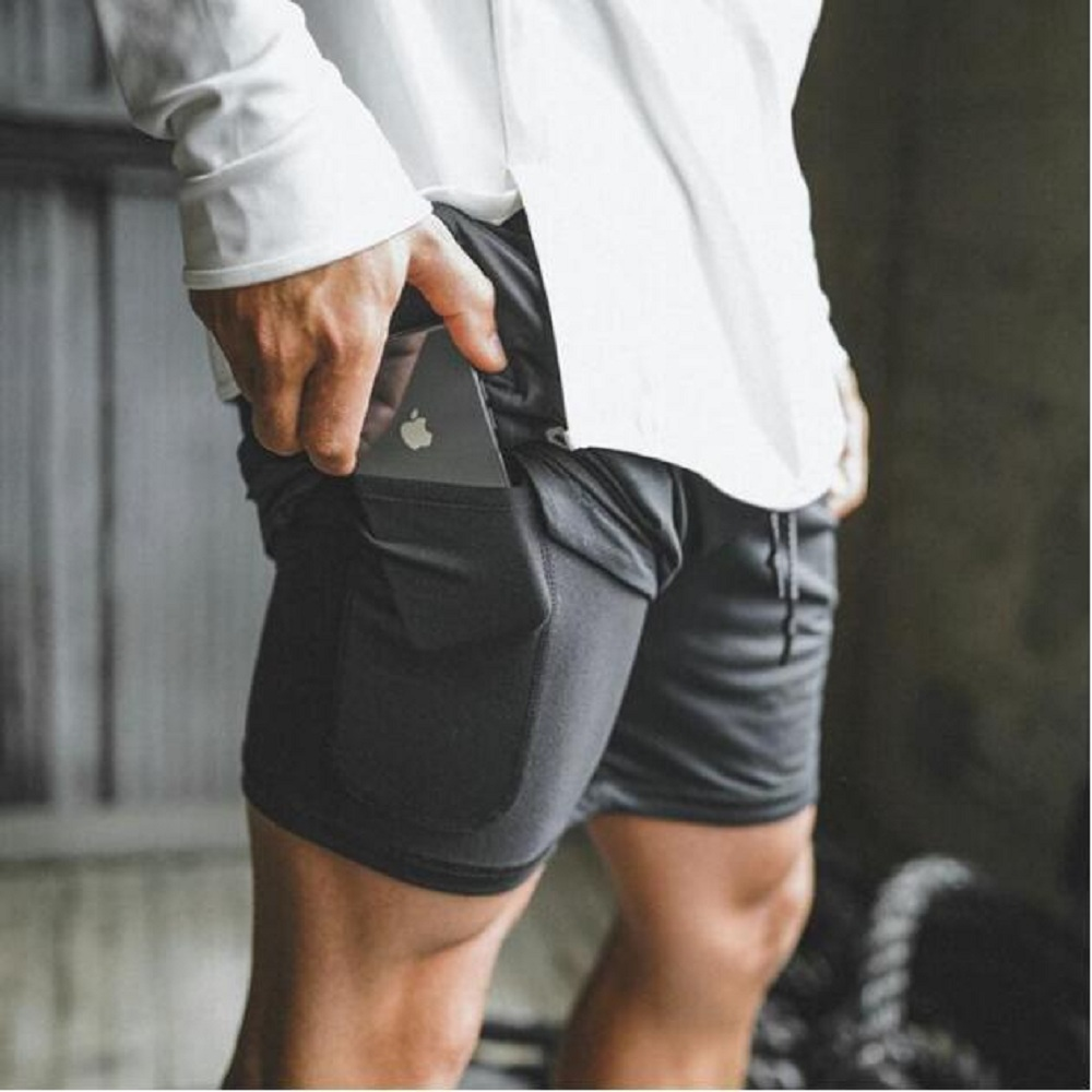 OA Men's Large Size Fitness Shorts Double-layer Solid Color Gyms Training Quick-drying Jogging Short Summer New Style Breathable