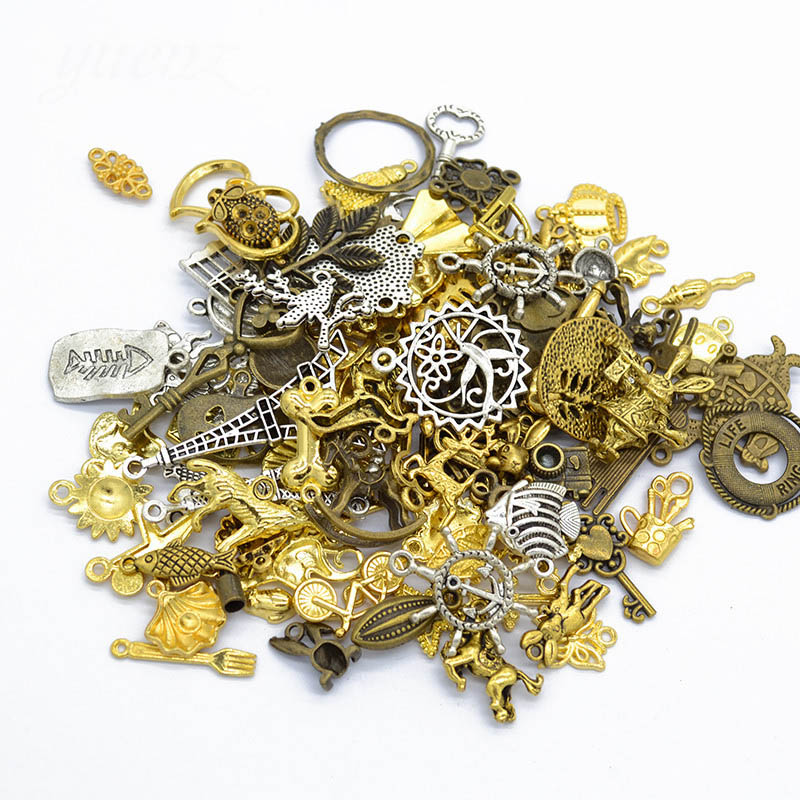 30pcs/lot Mixed Charms 5 Colors Kinds of Key Animal Charms Pendants for Bracelet Necklace DIY Jewelry Making Accessories
