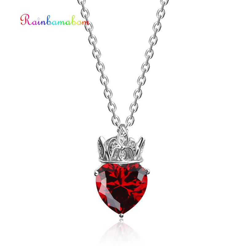 Rainbamabom Real 925 Sterling Silver Love Heart Ruby Pink Sapphire Gemstone White Gold Pendant Necklace Jewelry Women Wholesale