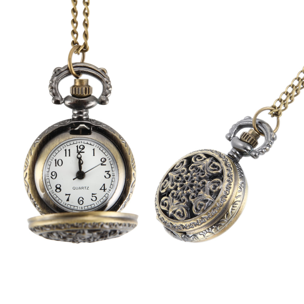 Fashion Vintage Women Pocket Watch Alloy Retro Hollow Out Flowers Pendant Clock Sweater Necklace Chain Watches Lady Gift LL@17 fashion rhinestone hollow out tortile cross shape pendant necklace for men