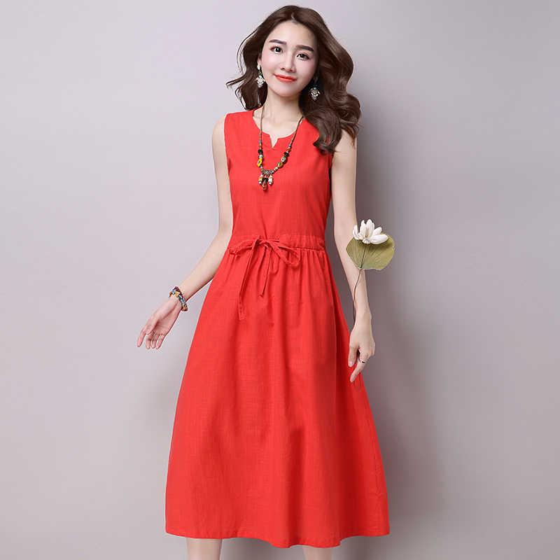 5XL летнее платье повседневное женское праздничное без рукавов сарафан с поясом хлопковые и льняные платья Повседневная Свободная Женская одежда Вечерние платья vestidos