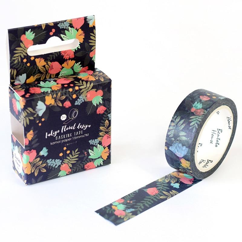 Blooming Dark Flowers Decorative Washi Tape DIY Scrapbooking Masking Tape School Office Supply Escolar Papelaria