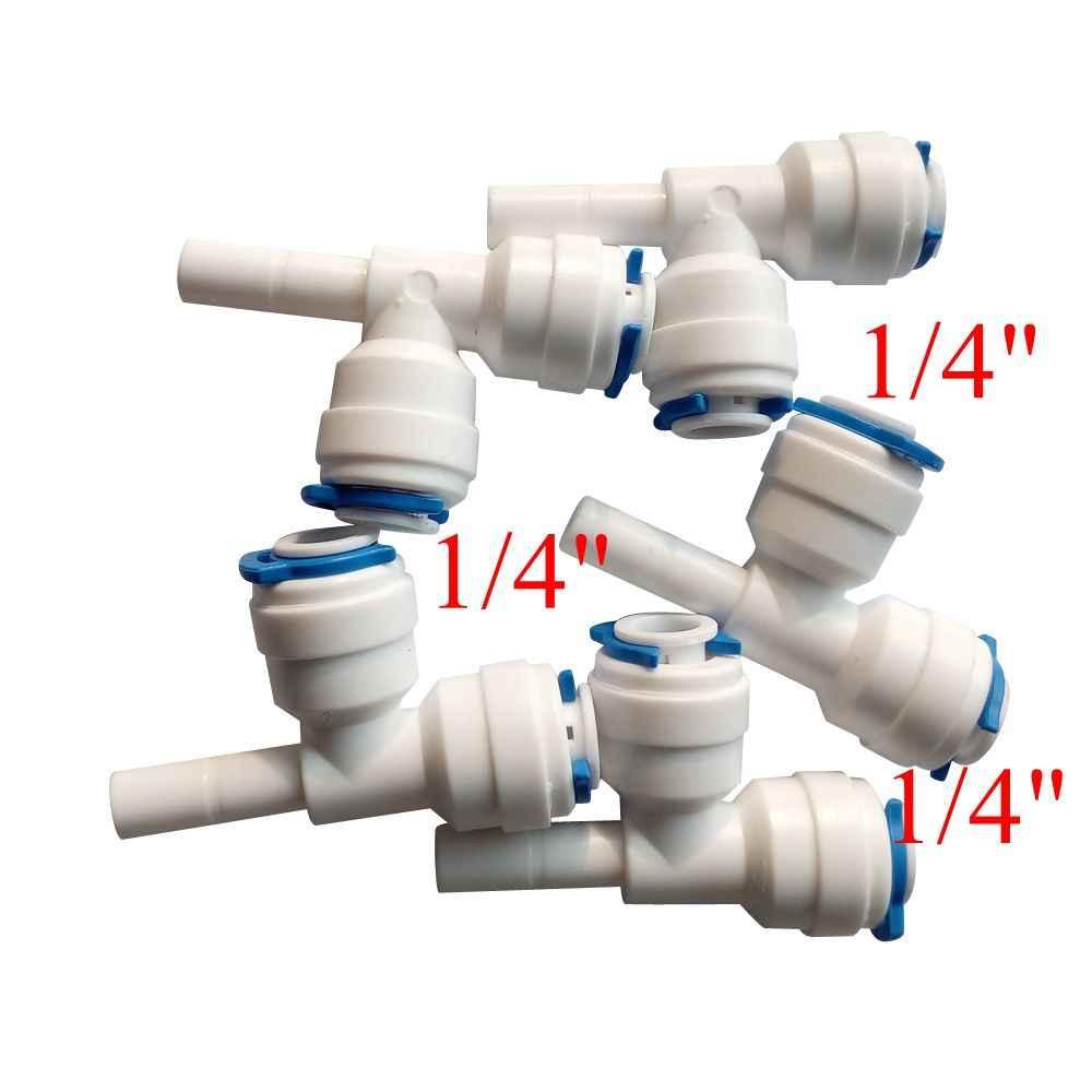 "Pack of 5 1/4 ""Tabung OD Cepat Connection 1/4"" pipa Tee Pas RO Water Reverse Osmosis Aquarium Sistem Konektor ROST-2-S2-2"