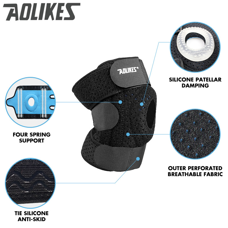 AOLIKES 1 pcs Meniscus Knee Pads Silica Gel Knee Pads Hiking Running Basketball Knee Support Breathable Sports Knee Pads Springs