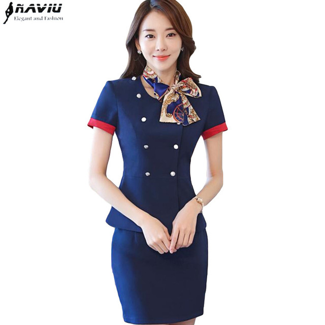 520fea75c7a0 Ensemble professionnel hôtesse uniformes nouvelle mode formelle femmes à  manches courtes blazer avec jupe bureau dames