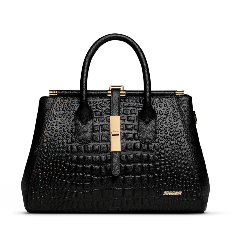 Women Genuine Leather Handbag Fashion Ladies Shopping Business Crocodile Pattern Tote Bags For Women Messenger Bag Sac A Main women crocodile pattern handbag fashion casual tote large shoulder bags ladies brand genuine leather shopping bag gift hand bag