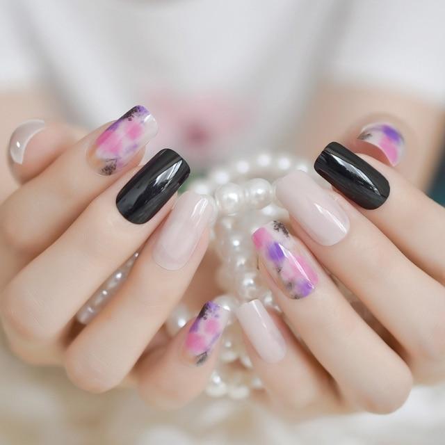 World Of Nail Design | Aliexpress Com Buy Nail Design Kit Black Floral White Square