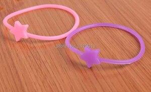 100x meninas crianças estrela fluorescente silicone pulseira stretchable charme brilho no escuro hairbands para menina saco enchimentos favor