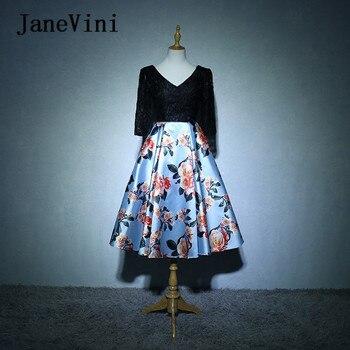 JaneVini 2018 Floral Flowers Print Bridesmaids Dresses Satin A-Line Backless Lace Half Sleeves Tea-Length Wedding Party Dresses