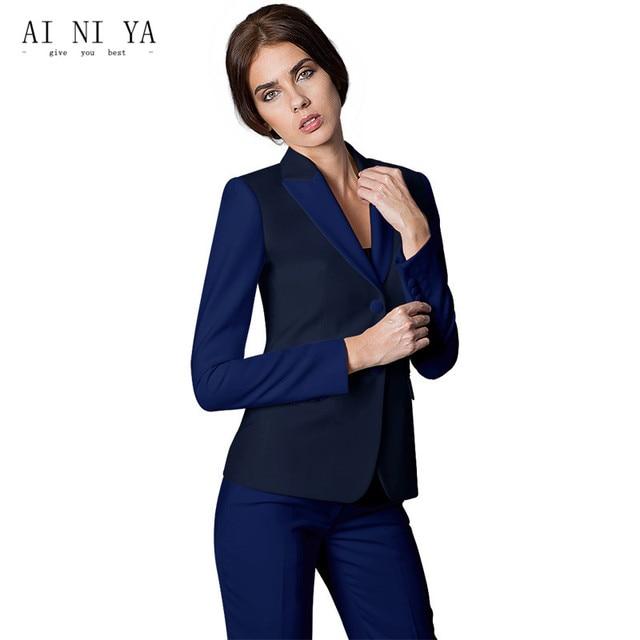 c4d6f2ee5385 Women Business Suits Formal Office Uniform 2018 Elegant Womens Suits Blazer  With Pants Trouser Work Wear for Ladies 2 Piece Suit