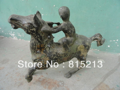 wang 000135 Monkey riding horse Statues Bronze Antique Exquiste Chinese old