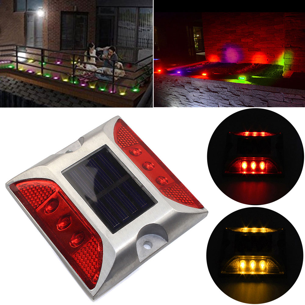 Outdoor Garden Steady Warning Pathway Lamp Brick Square Road Stud Light Path Ground Solar Power Street Deck Traffic