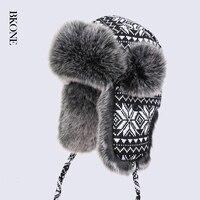 גברים כובעי מפציץ נשים סריגה צמר לבן שחור פתיתי שלג עבה Ushanka רוסים חורף הצייד Hat פו פרוות שועל