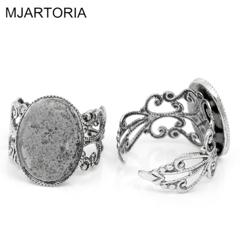 MJARTORIA Rings-Base Jewelry-Ring Tone-Supplies Blanks Silver Hollow Settings Adjustable