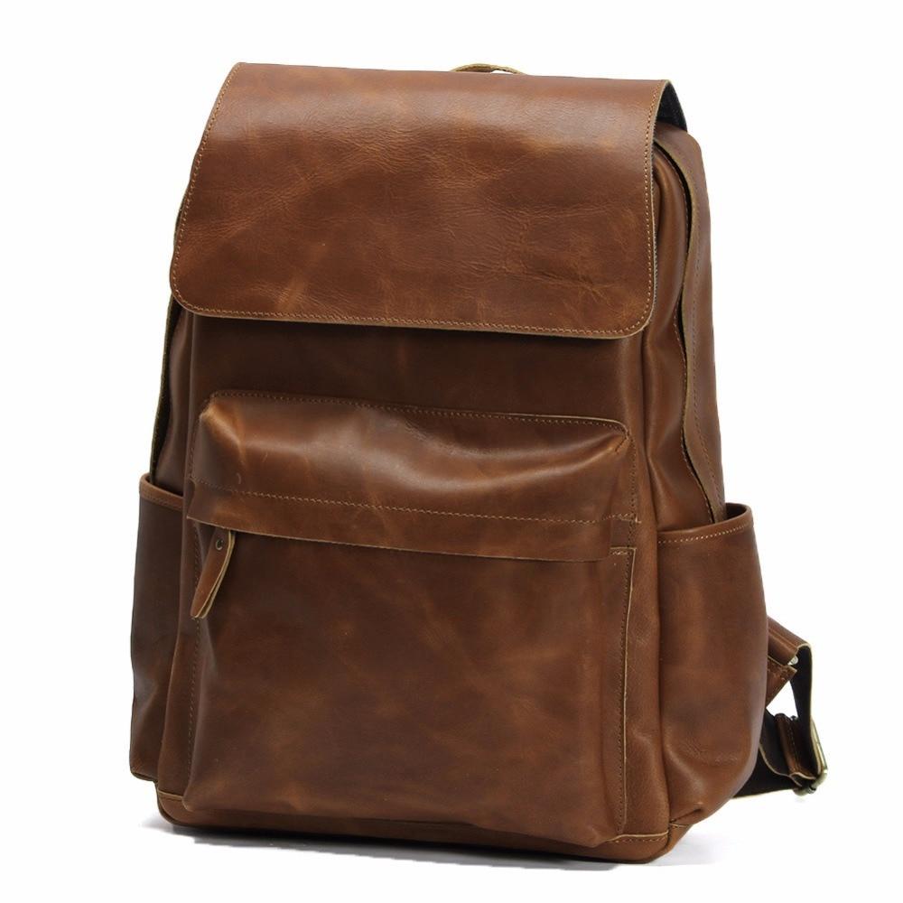 Retro Style Genuine Cowhide Leather School Shoulder Bag Backpack Casual Travel Bag Laptop iPad Bag Pack LD032 hot sale women s backpack the oil wax of cowhide leather backpack women casual gentlewoman small bags genuine leather school bag