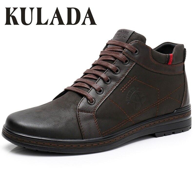 c563ae8cf KULADA الساخن أعلى جودة الرجال الأحذية الرجال الشتاء سميكة الفراء حذاء قصير  أحذية كاجوال زيبر الجانب