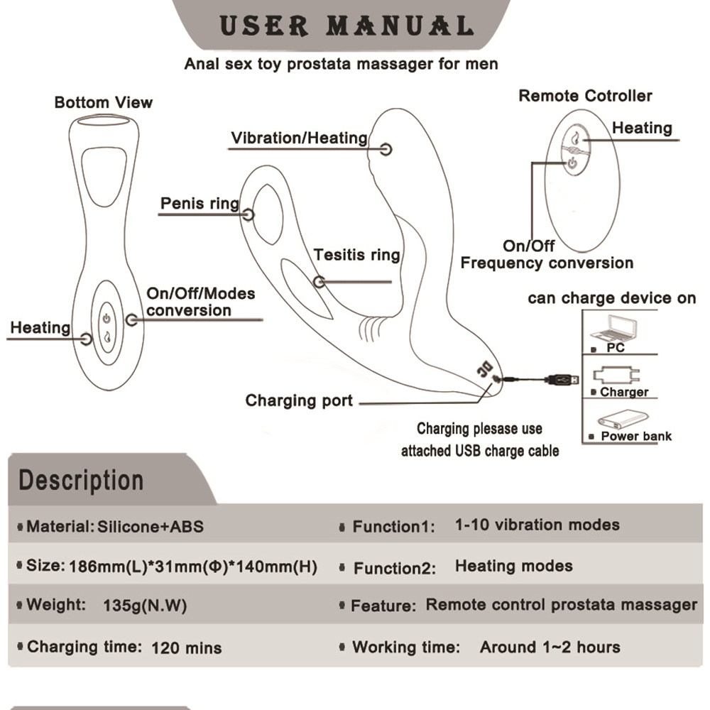 Male Prostate Massage Vibrator Remote Control Anal Vibrator Strap On Dildo Vibrator Double Penetration Vibrators Adult Sex Toys 9