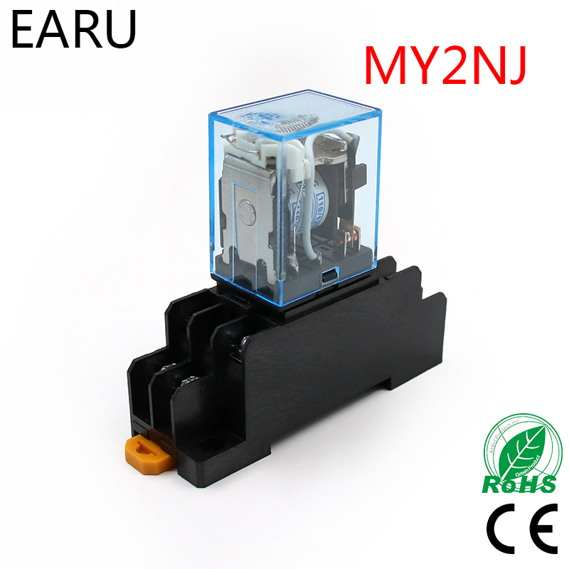 MY2P HH52P MY2NJ Relay Coil General DPDT Micro Mini Electromagnetic Relay Switch with Socket Base LED AC 110V 220V DC 12V 24V 1set my4nj dc 12v coil 4no 4nc green led indicator power relay din rail 14 pin base mini relay