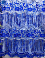 Beautifical african sequins tulle fabrics 2019 high quality tassel fabrics dress sequin shiny lace fabric 5yards/lot ML5N350