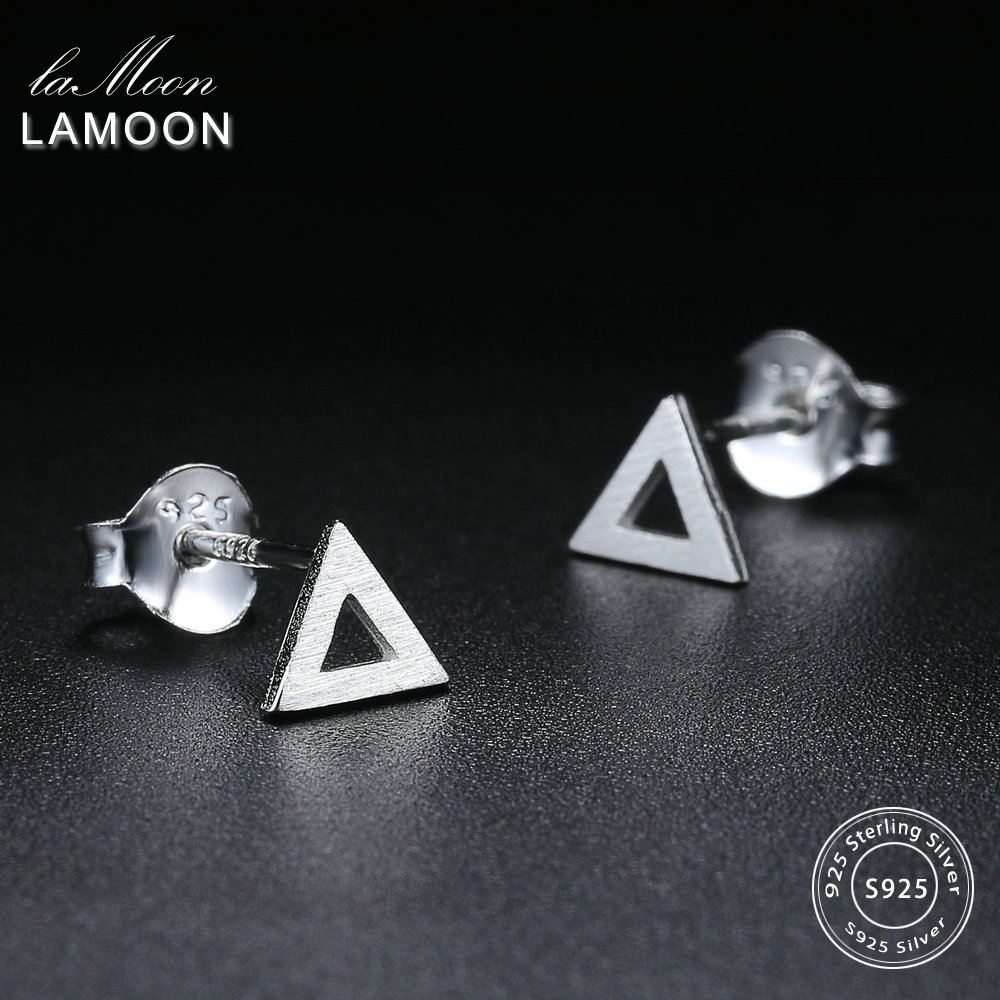 LAMOON New Wiredrawing Hollow Triangle Shape 100% 925-Sterling-Silver Earrings S925 Fine Jewelry For Women Girl Gift LMEY220