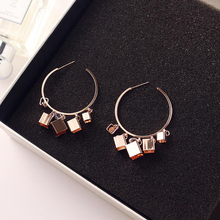 2019 Fashion Jewelry Small Square Round Circle Hoop Earrings for Women Celebrity Zircon Female Long Block Earring
